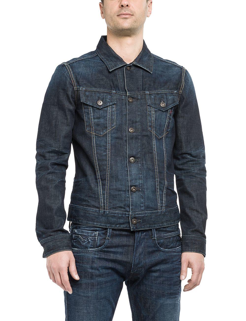 lyst replay denim jacket in blue for men