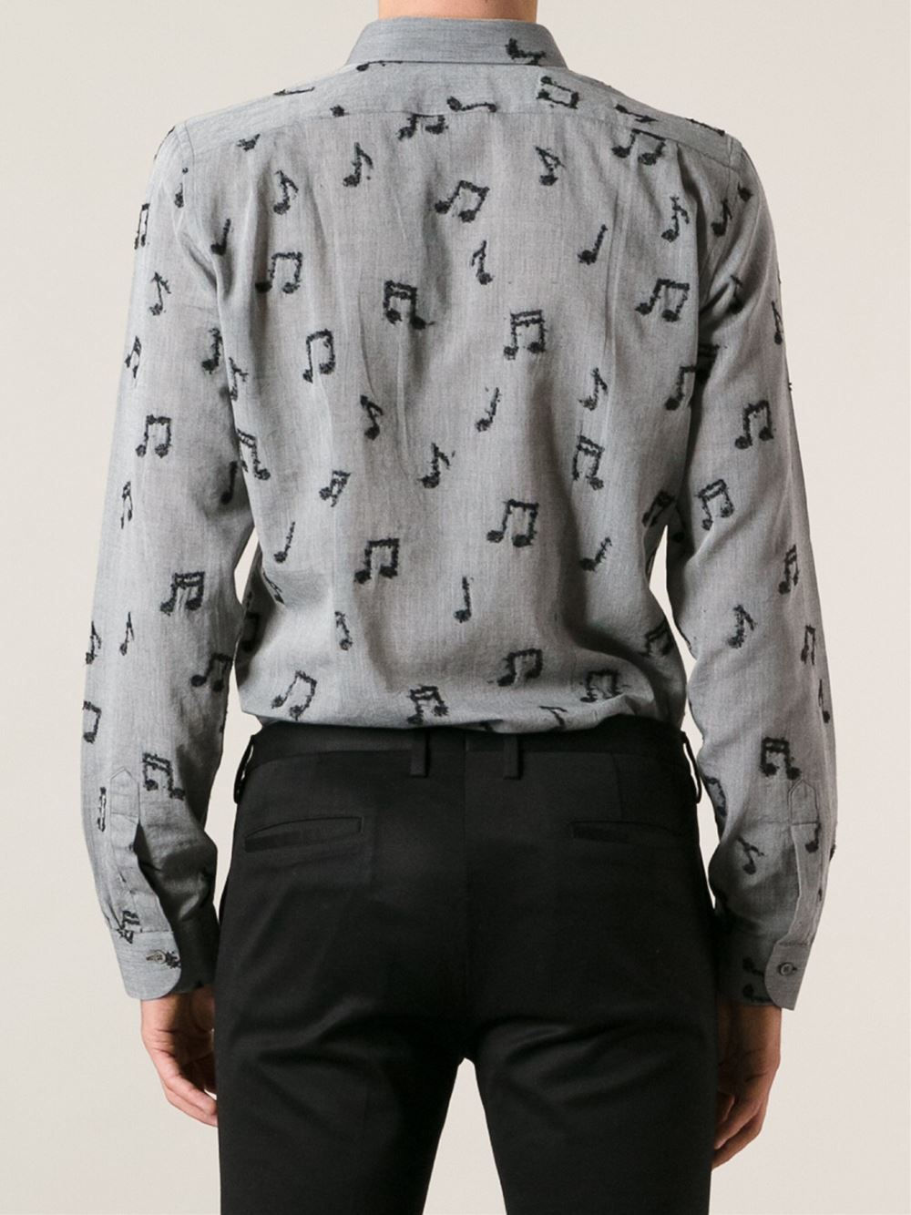 Paul Smith Music Notes Slim Fit Shirt In Gray For Men Lyst