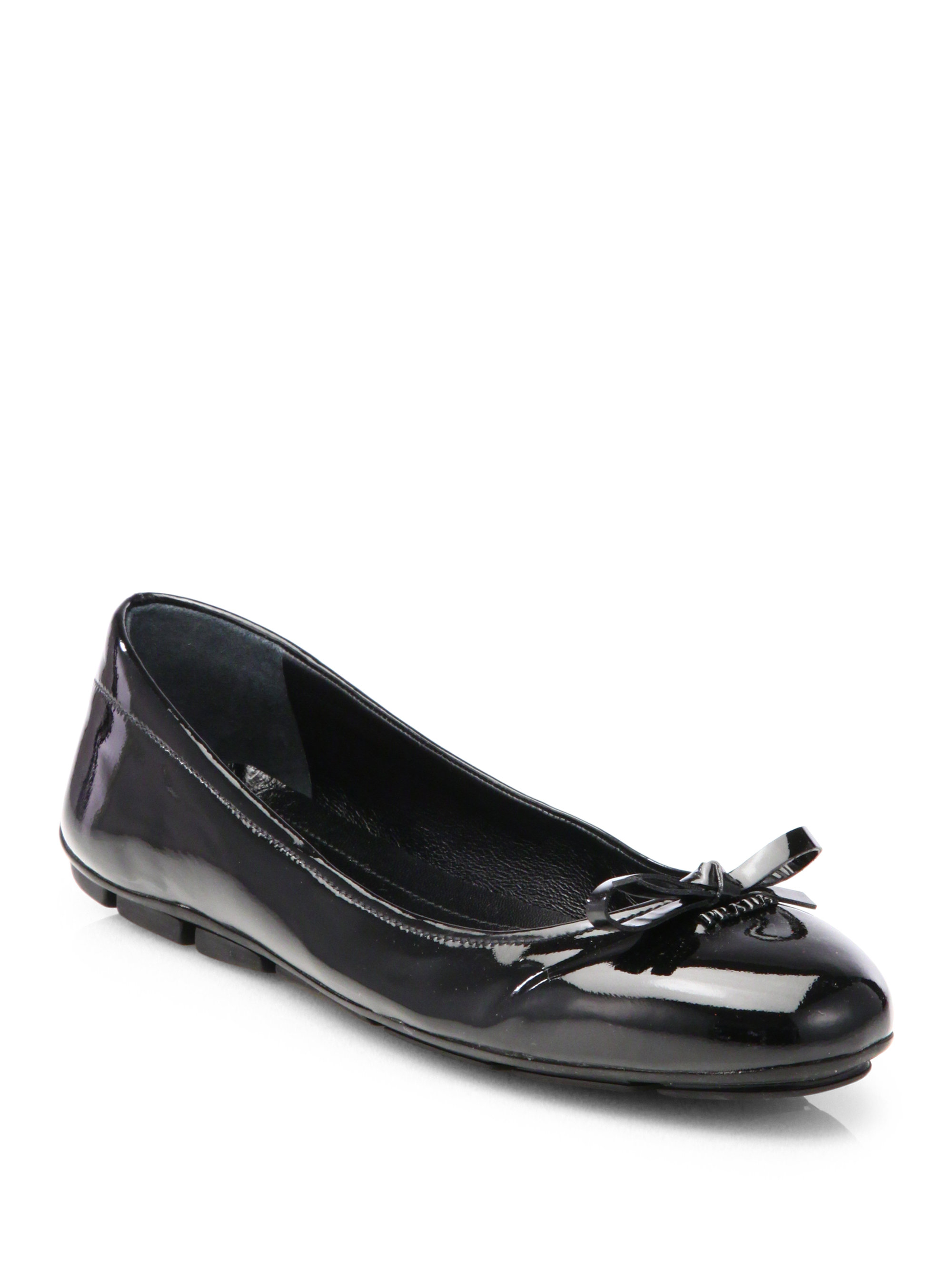 Prada Patent Ballet Flats In Black Lyst