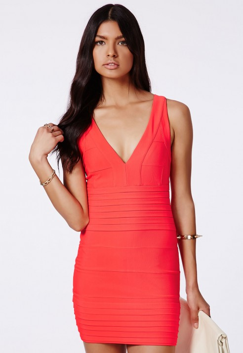 Missguided Leena Neon Coral Bandage Bodycon Dress in Pink | Lyst