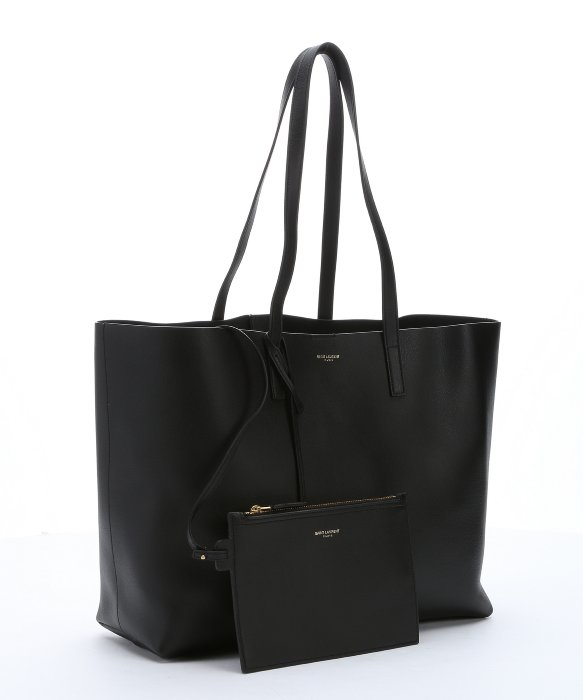 Saint laurent Black Leather Shopping Tote in Black | Lyst