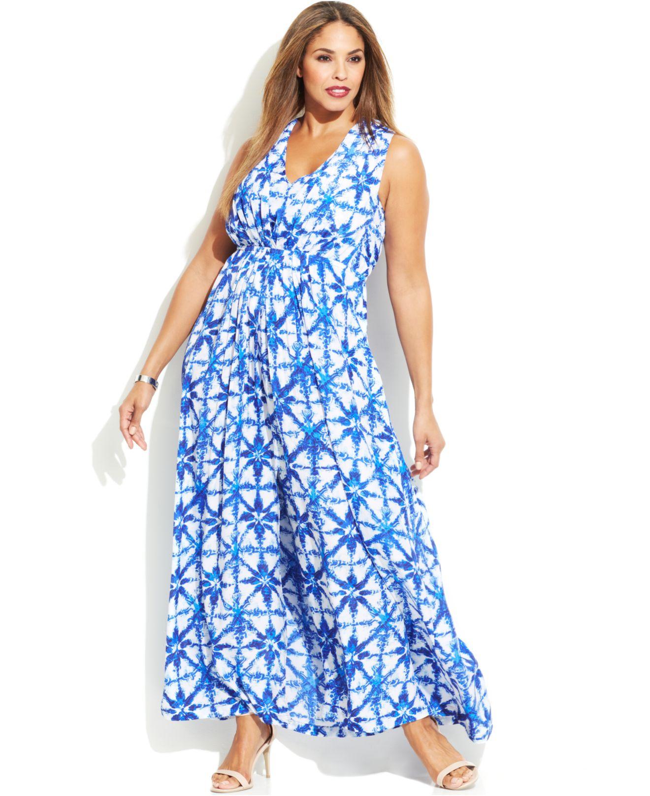 Michael Plus Size Sleeveless Printed Maxi Dress