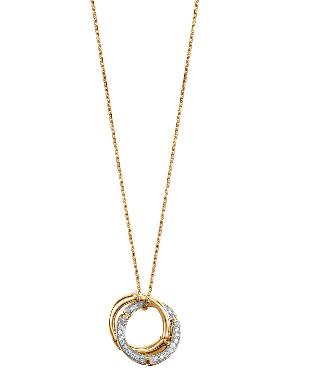 John Hardy Bamboo 18k Gold Amp Diamond Link Pendant Necklace