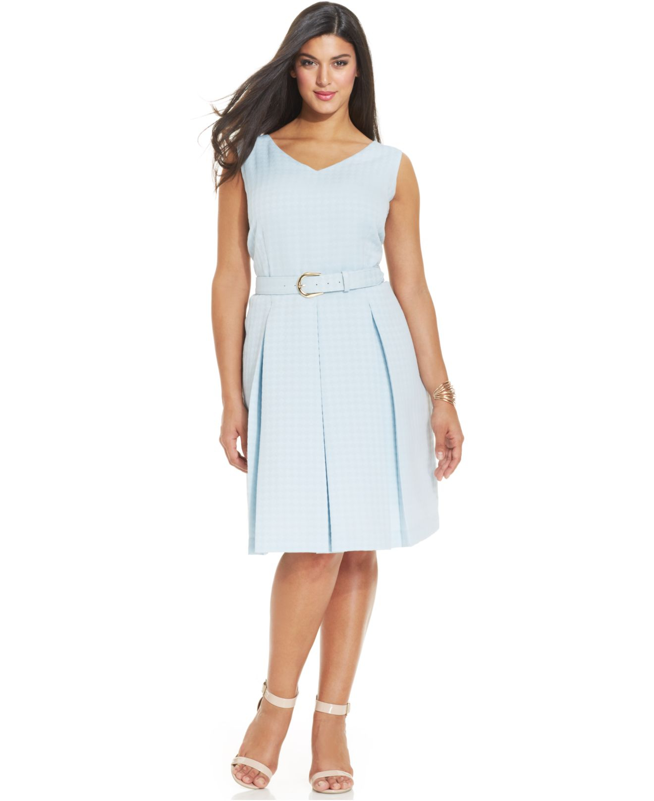 Tahari White Asl Plus Size Jacquard Pleated Dress
