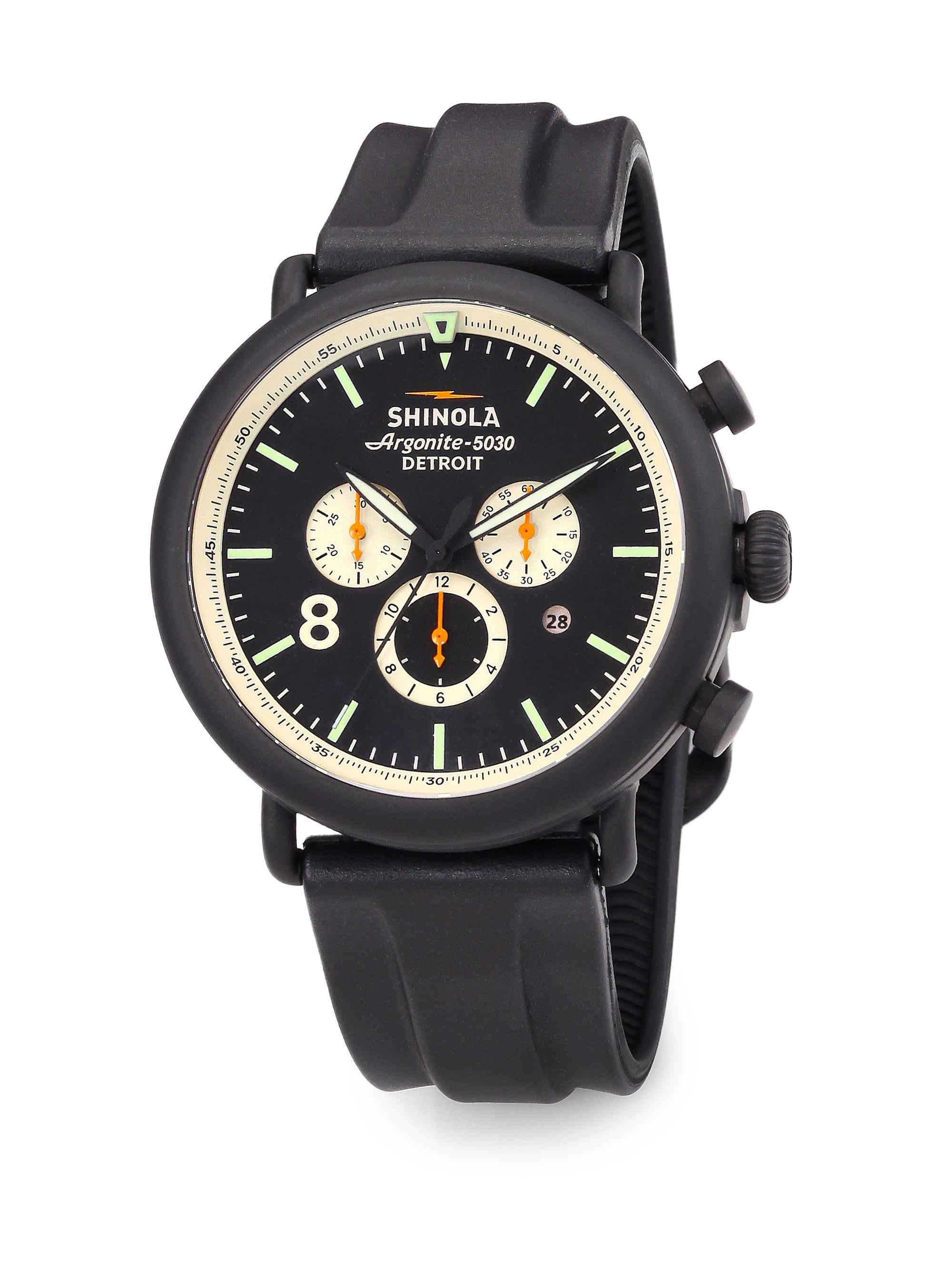 Lyst shinola 47mm runwell chronograph watch in black for men for Shinola watches