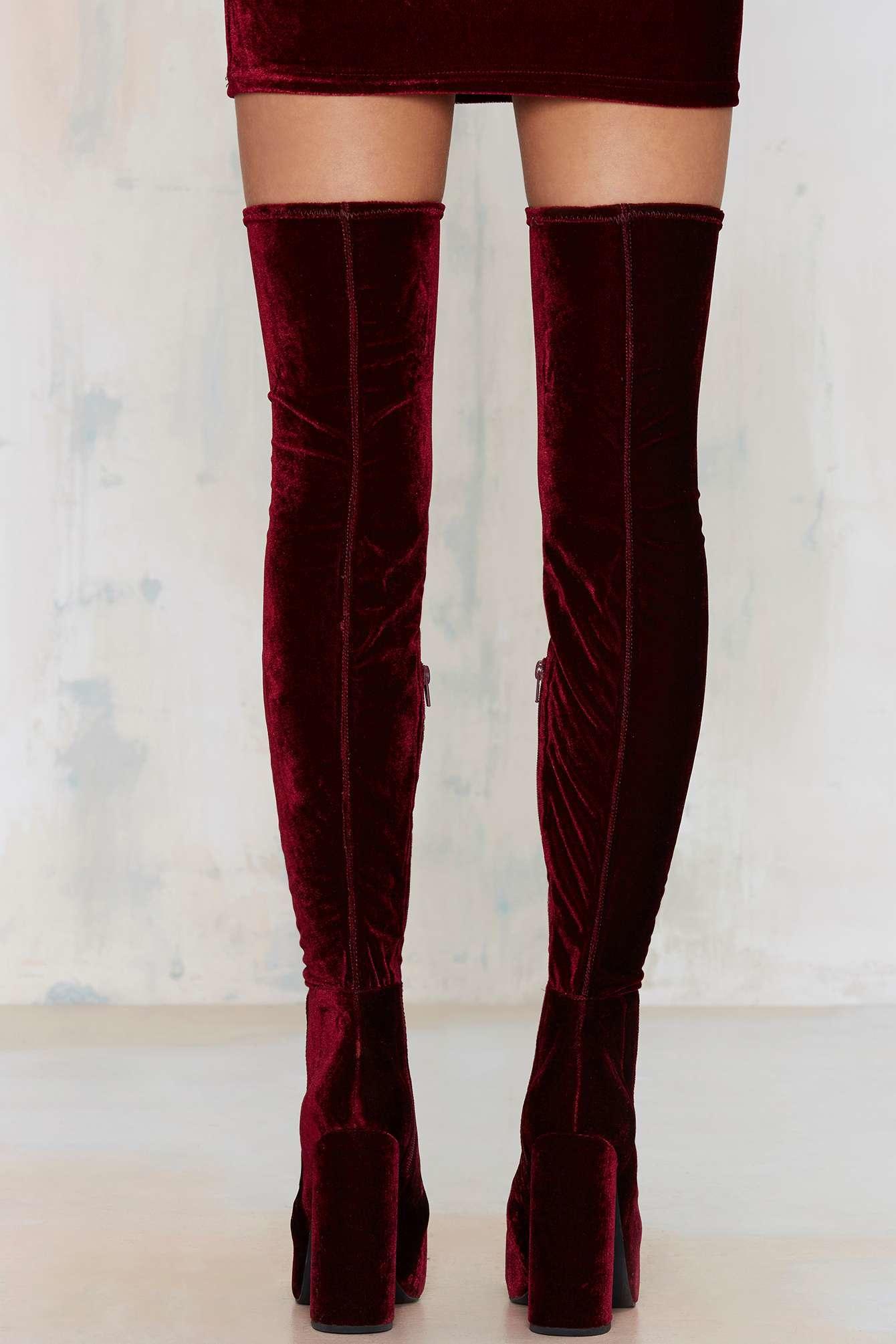 jeffrey cbell bedelia velvet the knee boots in