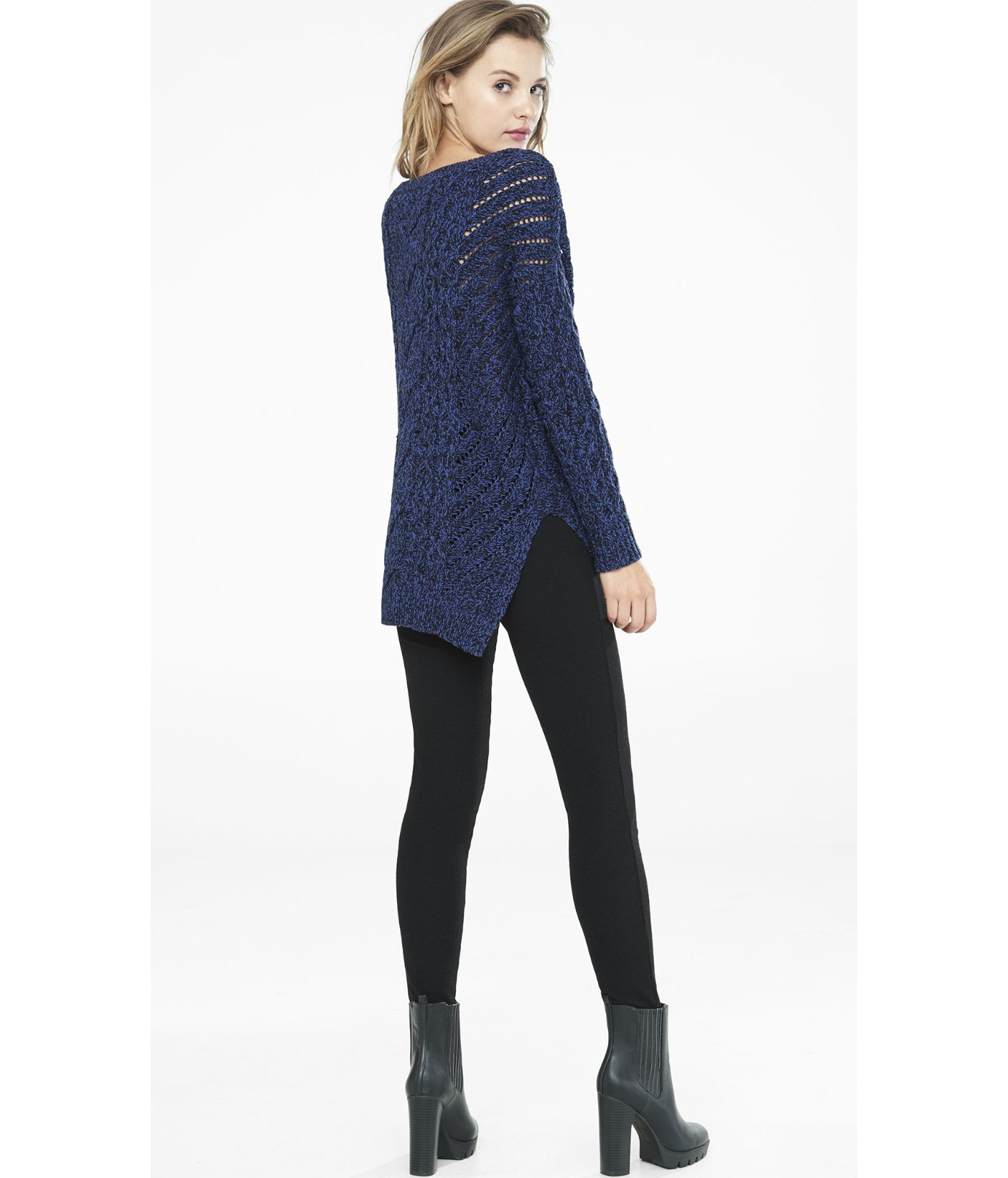Express Marl Oversized Open Cable Knit Tunic Sweater in Blue | Lyst