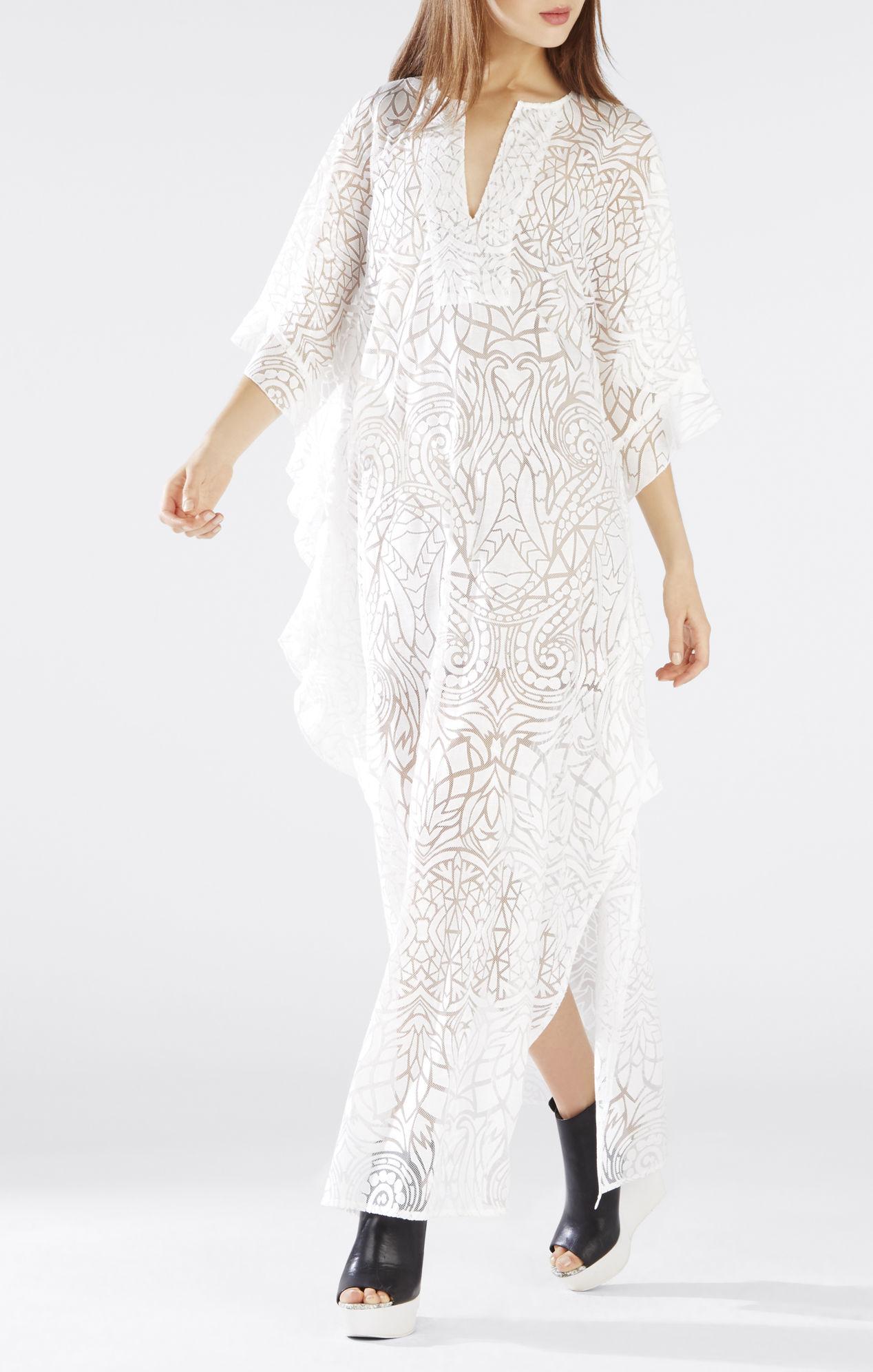 Lyst Bcbgmaxazria Dameka Ruffled Long Kaftan Dress In White