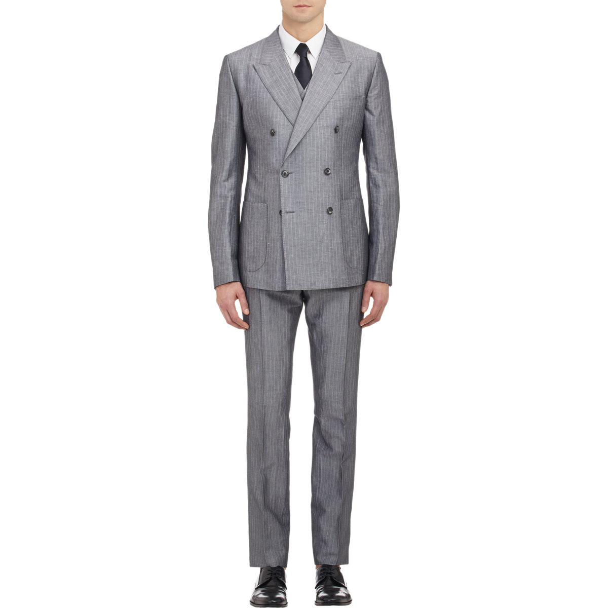 3 Piece and Vested Suits. Reasonably Priced Three Piece Suit Mens Vested & Pinstripe Suits When you need a quality 3 piece suit or pinstripe suit for your wardrobe, MensItaly can come to your rescue without a doubt. Our online retailer can accommodate all of your three piece pinstripe suit needs easily.