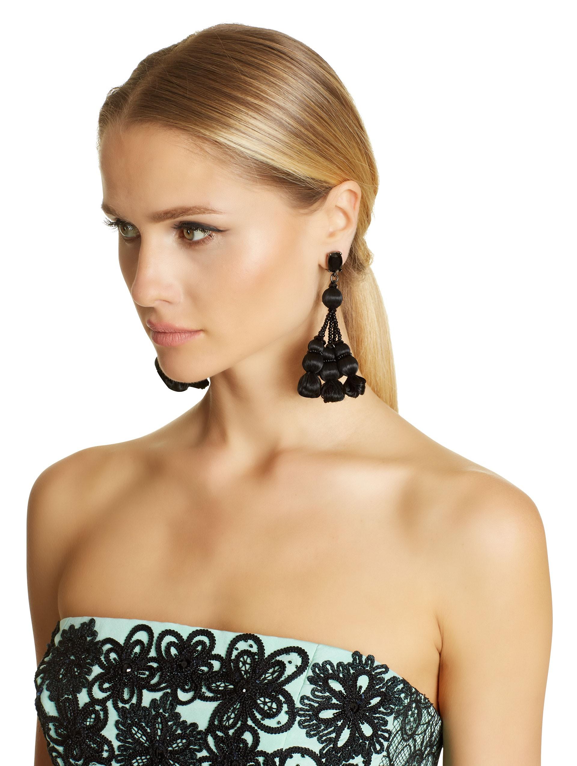 Lyst Oscar De La Renta Black Silk Pom Pom Tassel Earrings In Black