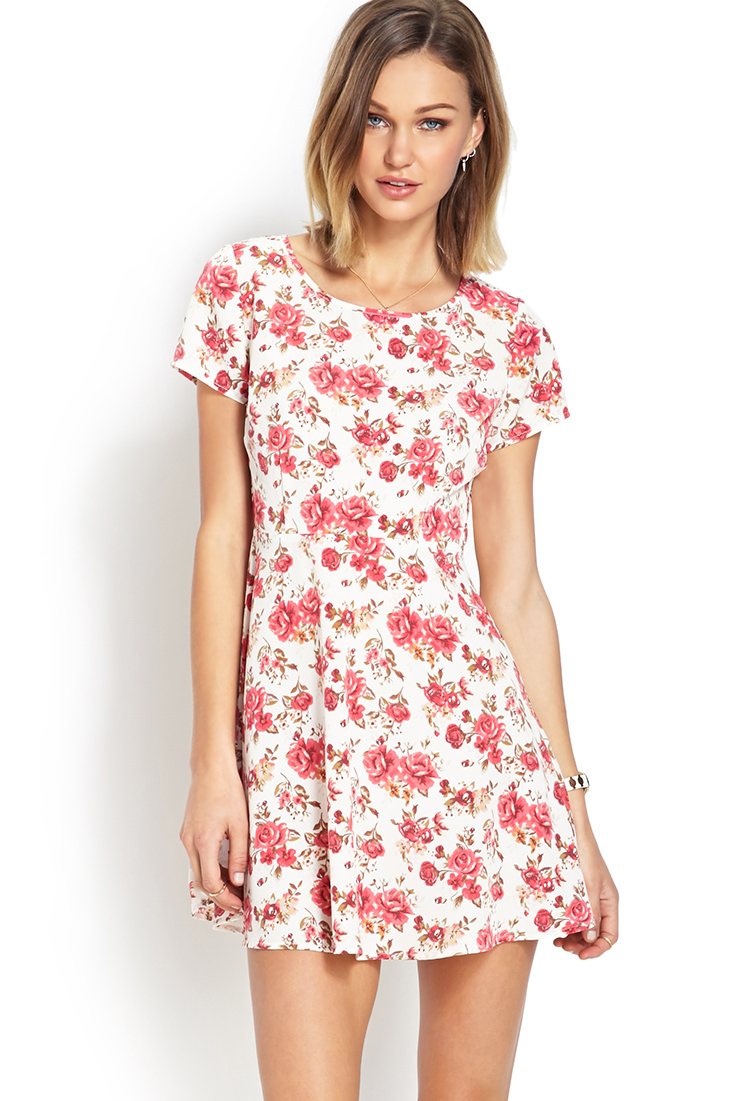 5f52fa12ce2 Forever 21 Darling Cutout Floral Dress in Pink - Lyst