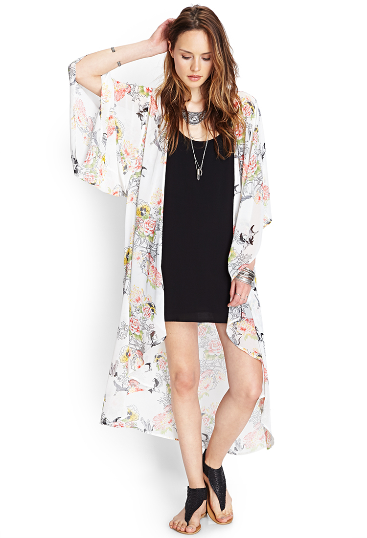 Forever 21 Garden Floral Maxi Cardigan | Lyst