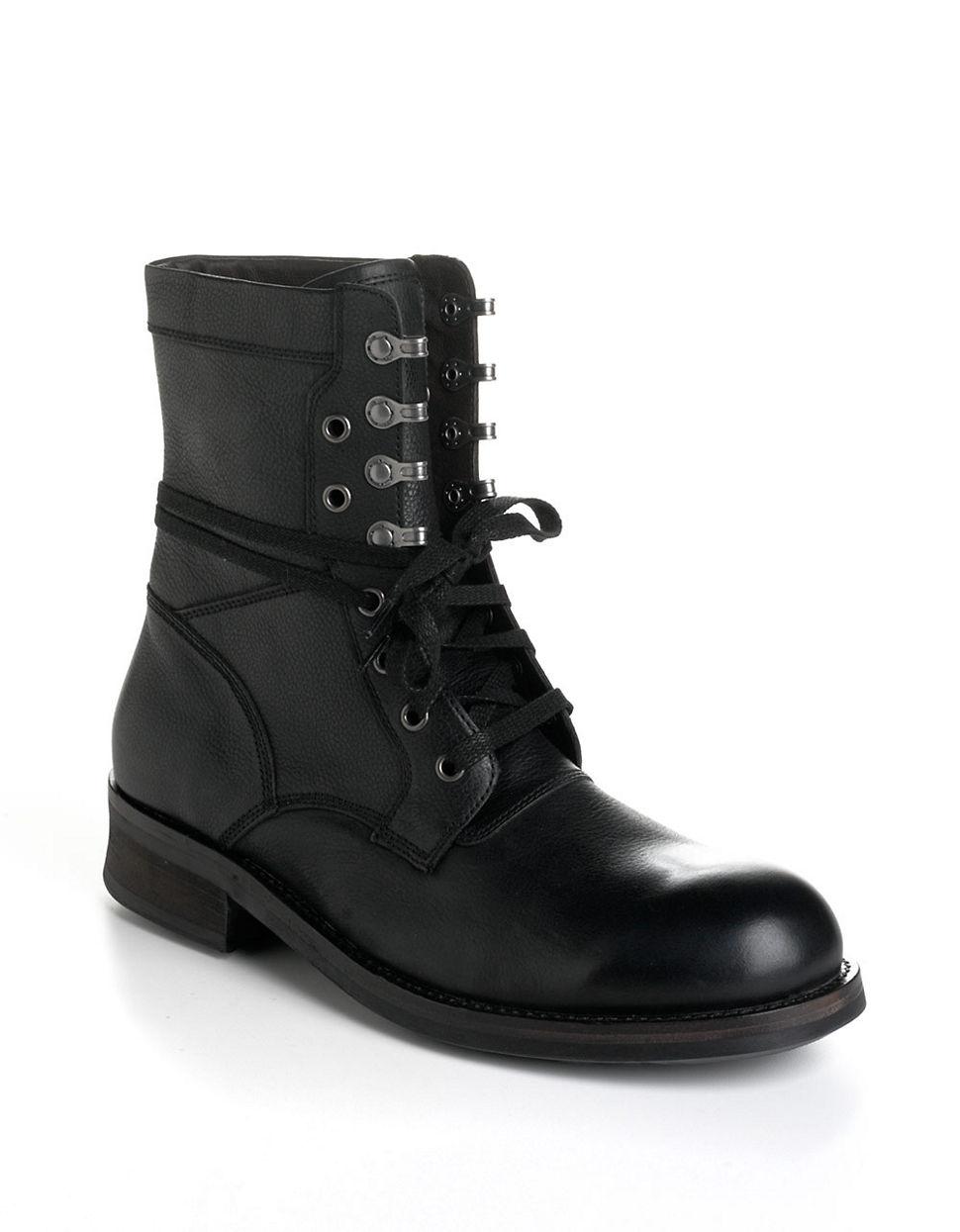 John Varvatos Leather Moto Combat Boots In Black For Men