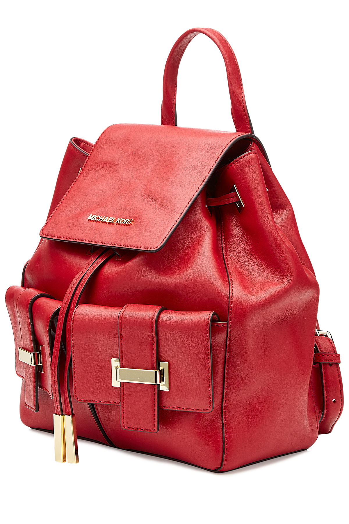 lyst michael michael kors leather marly backpack red. Black Bedroom Furniture Sets. Home Design Ideas