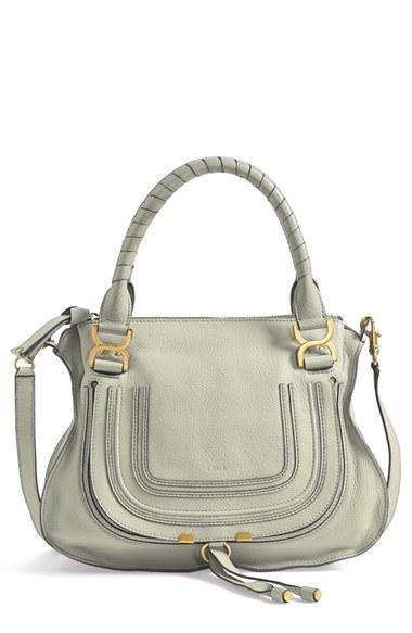 designer handbags chloe - Chlo�� \u0026#39;Marcie - Small\u0026#39; Leather Satchel in Green (baobab green) | Lyst