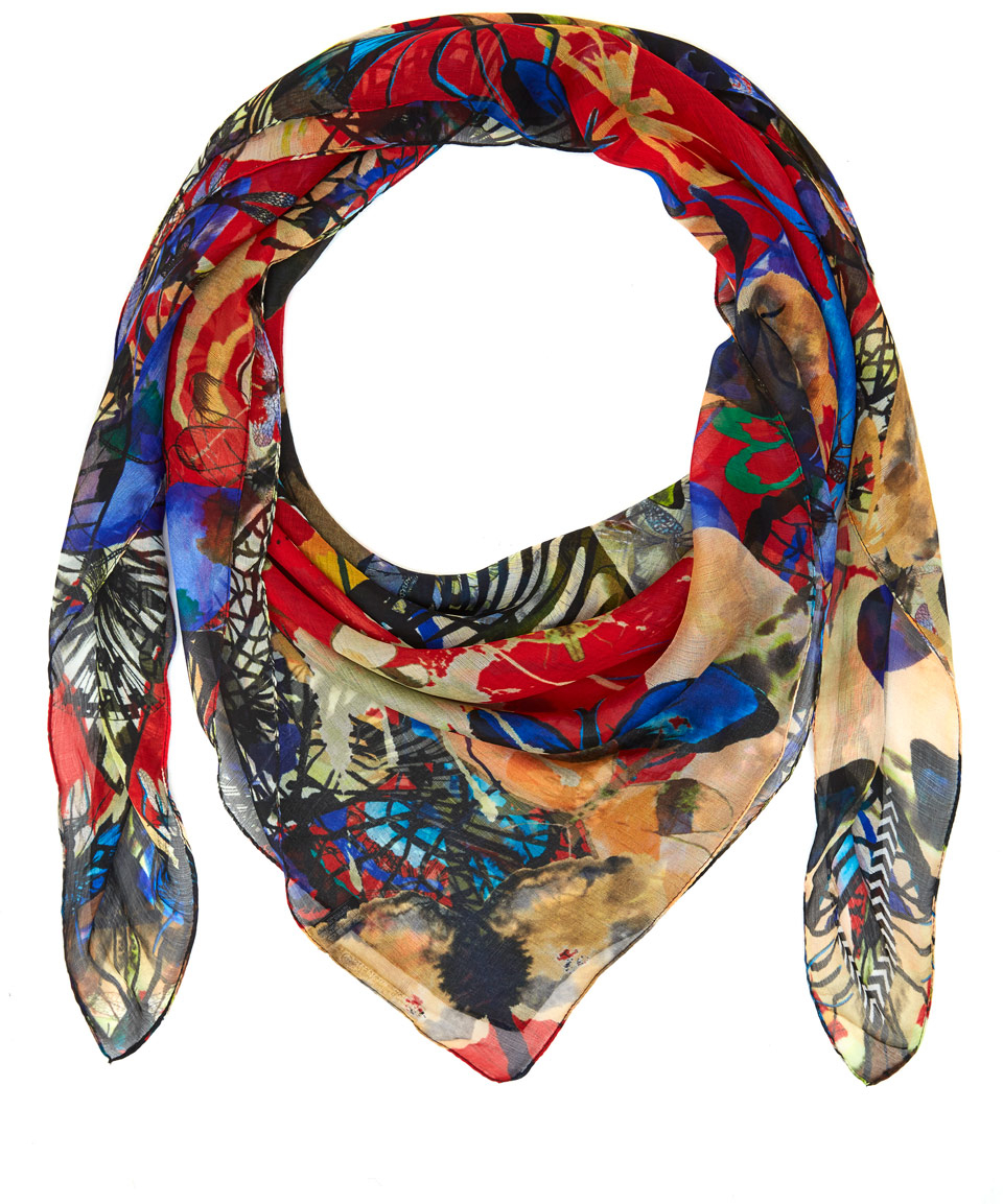christian lacroix insect print silk scarf in lyst