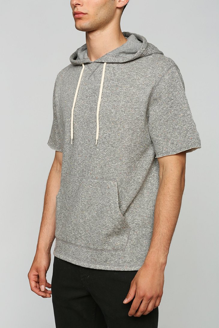 Bdg Nep Short-Sleeve Pullover Hooded Sweatshirt in Gray for Men | Lyst