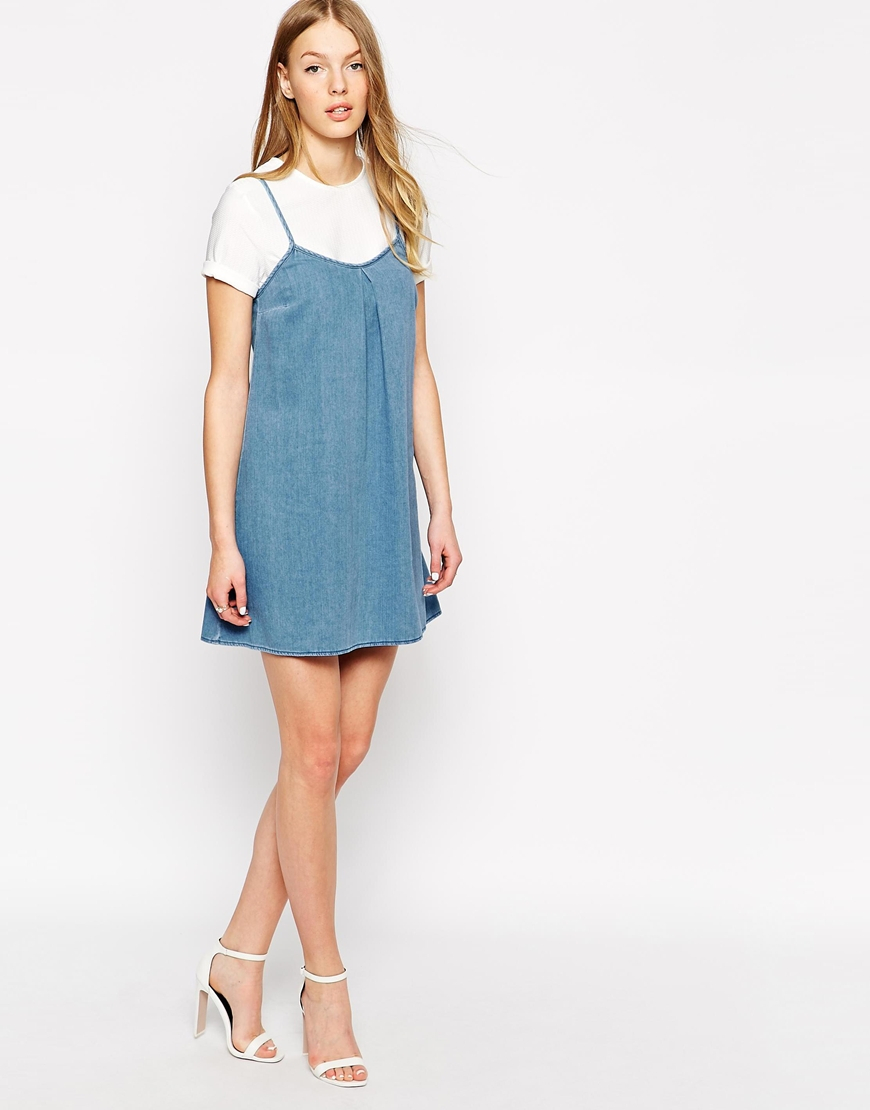 6e447e3f59 Lyst - Warehouse Denim Cami Dress in Blue