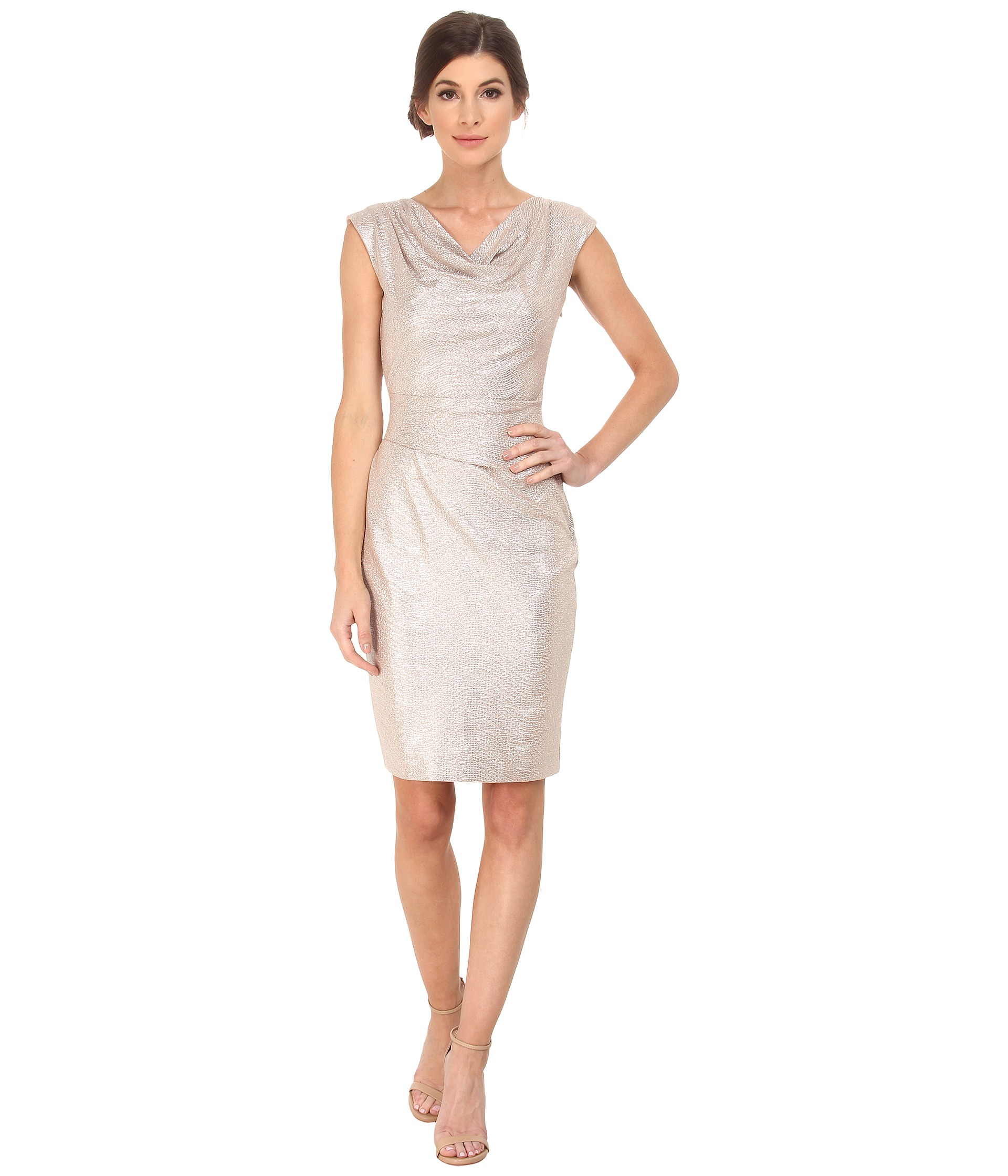 Cowl Dress: Vince Camuto Metallic Cowl Neck Dress In Pink
