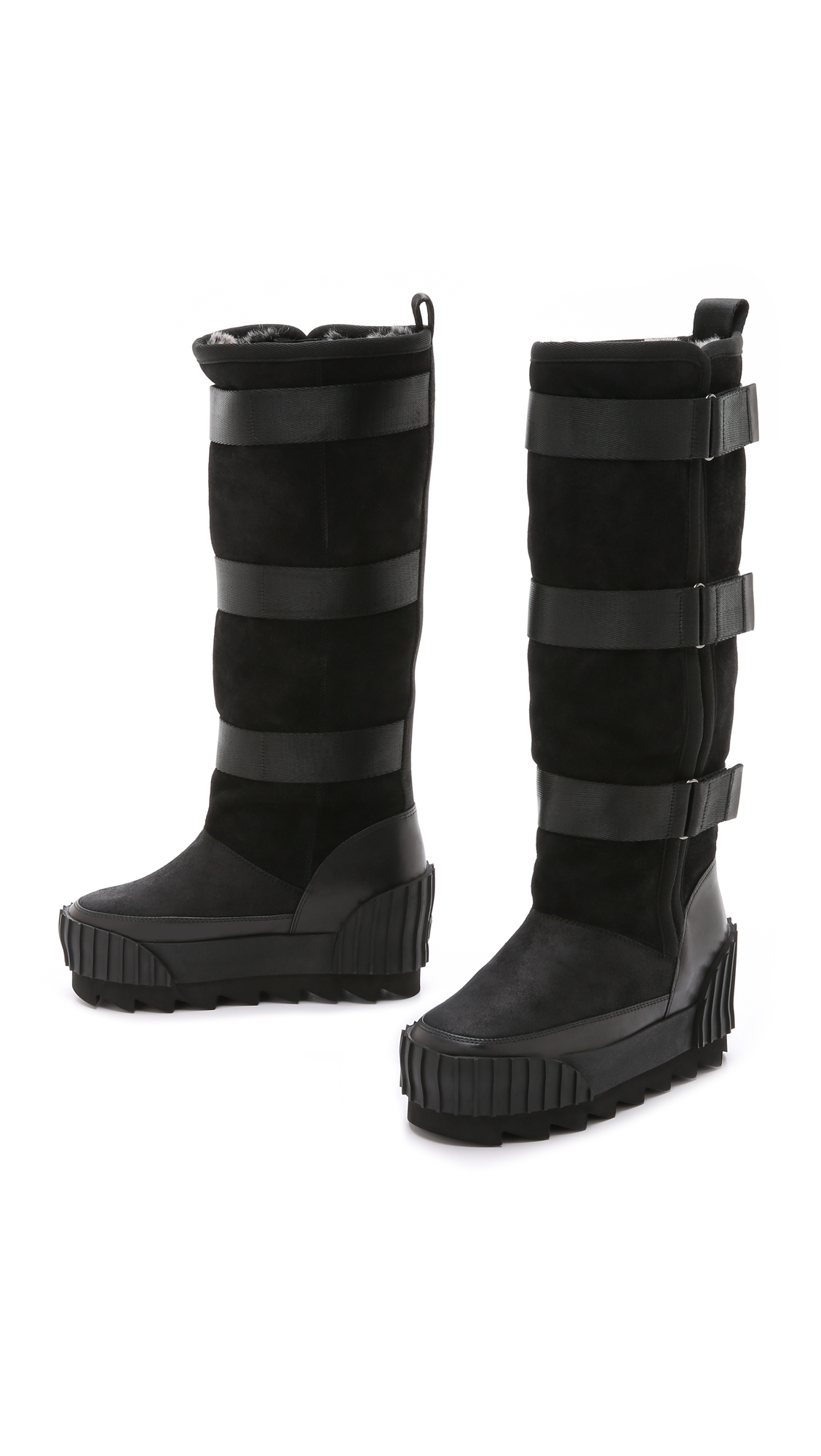 United Nude Faux Fur Lined Snow Boots - Black