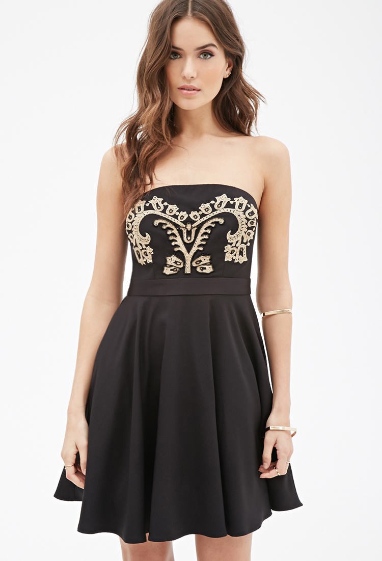 Forever 21 Contemporary Baroque Embroidered Fit Amp Flare
