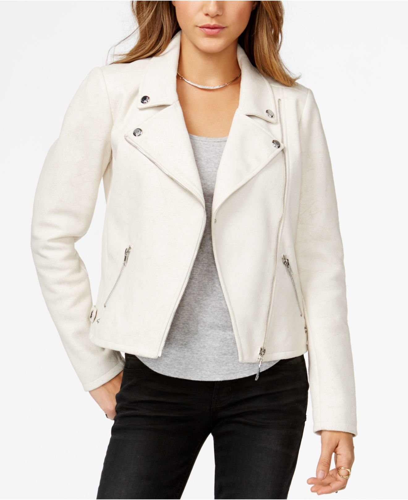 Guess Faux-suede Moto Jacket in White - Lyst