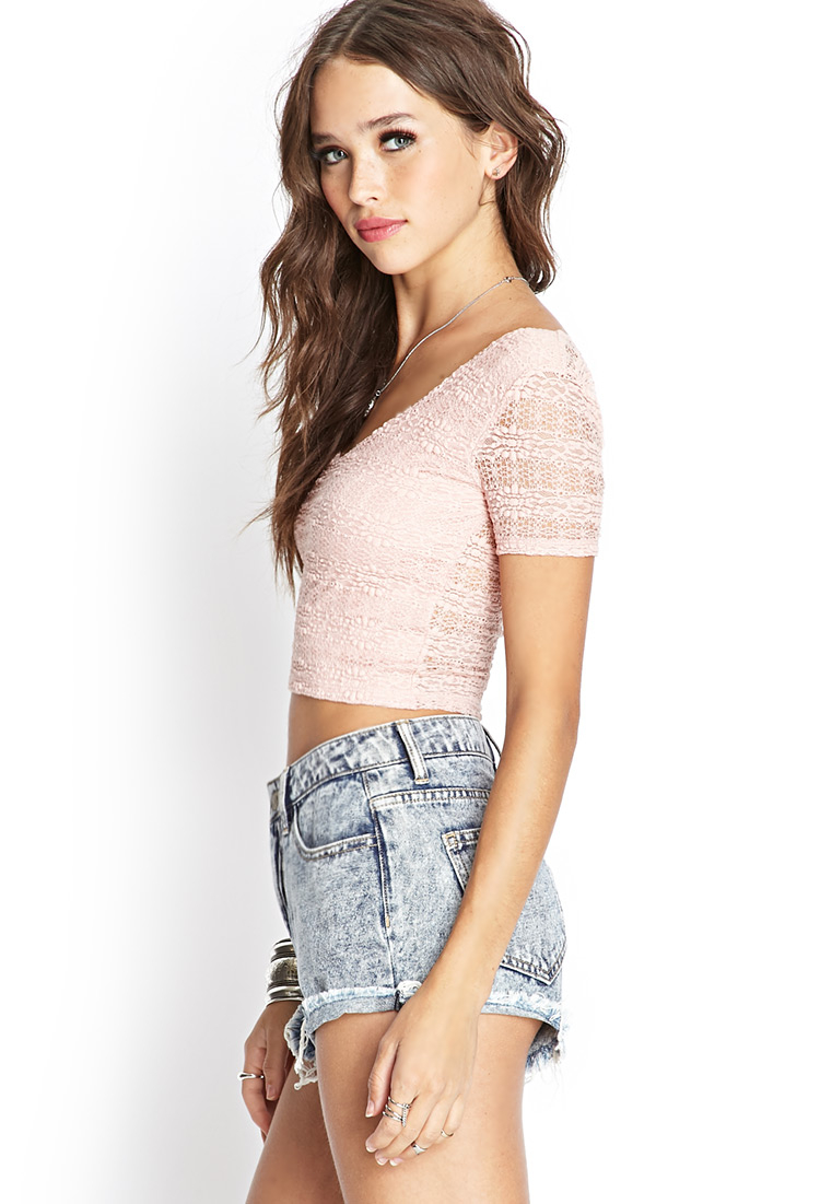 Forever 21 Lace Crop Top In Pink Lyst