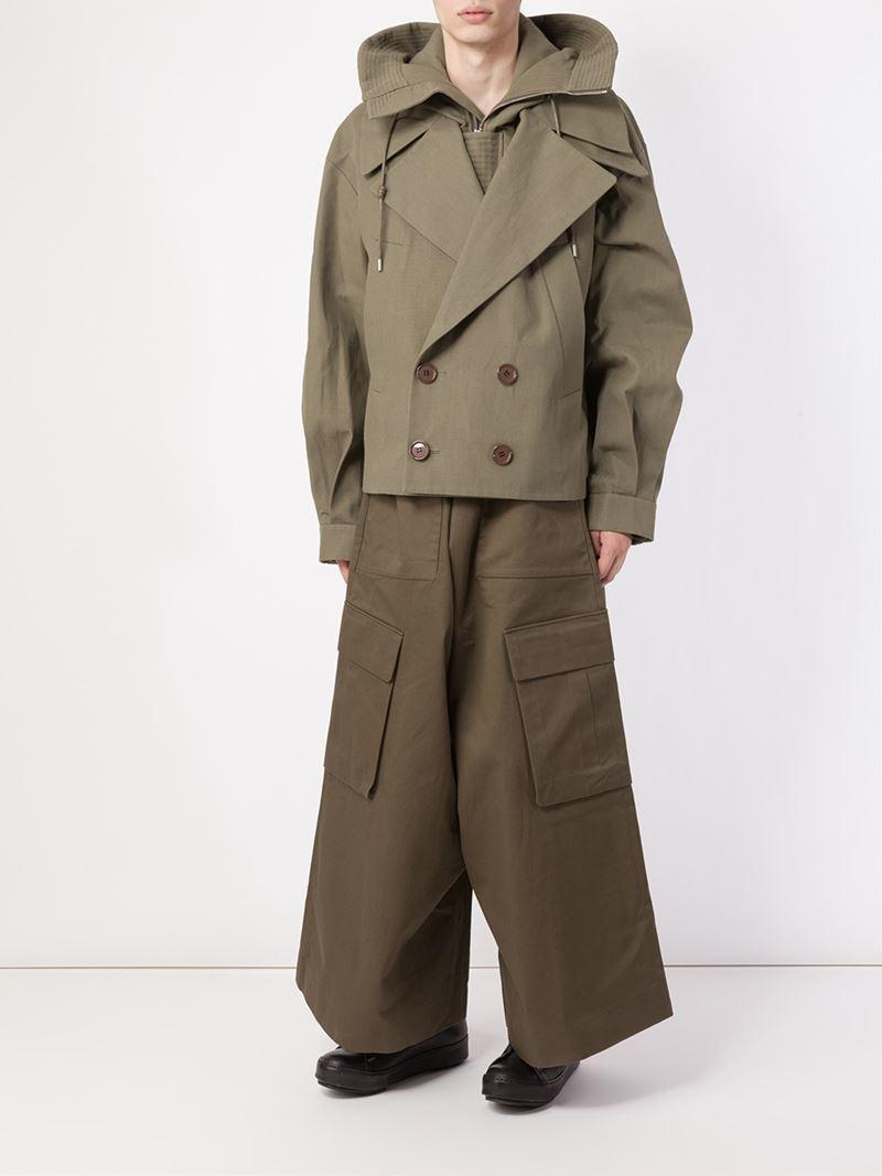 Juun.J Stylised Hooded Peacoat in Green for Men