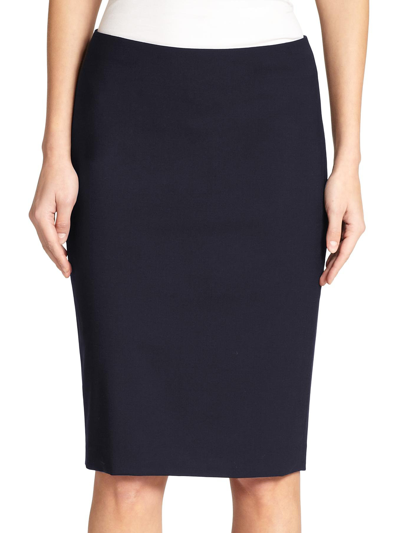 theory edition stretch wool pencil skirt in blue navy lyst