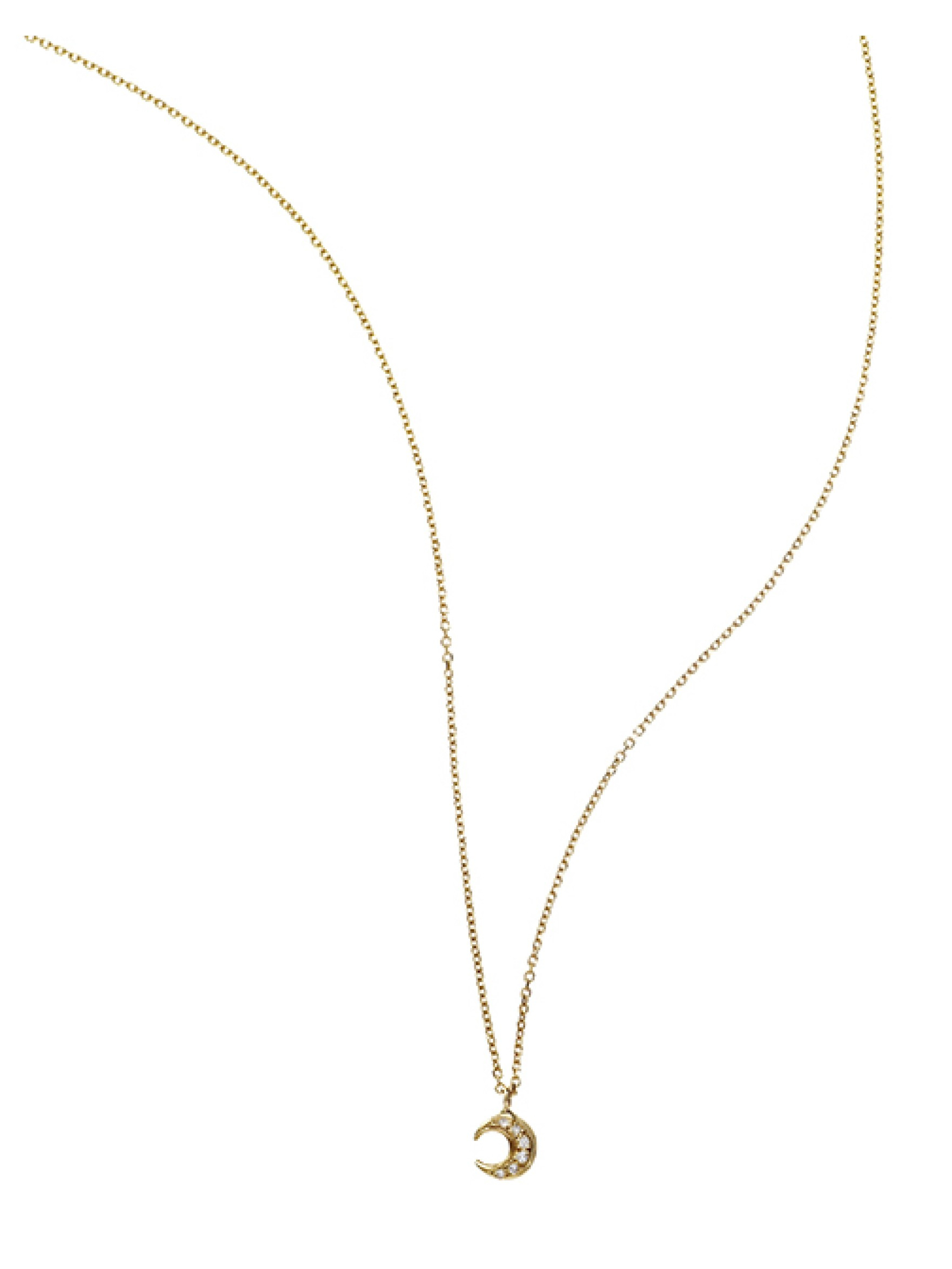 manon small moon pendant necklace in gold yellow gold lyst