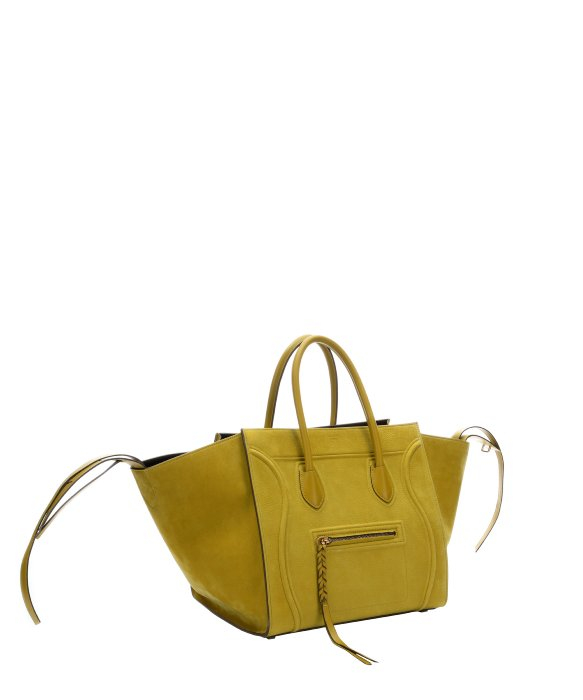 C¨¦line Chartreuse Suede Phantom Large Trapeze Tote Bag in Yellow ...