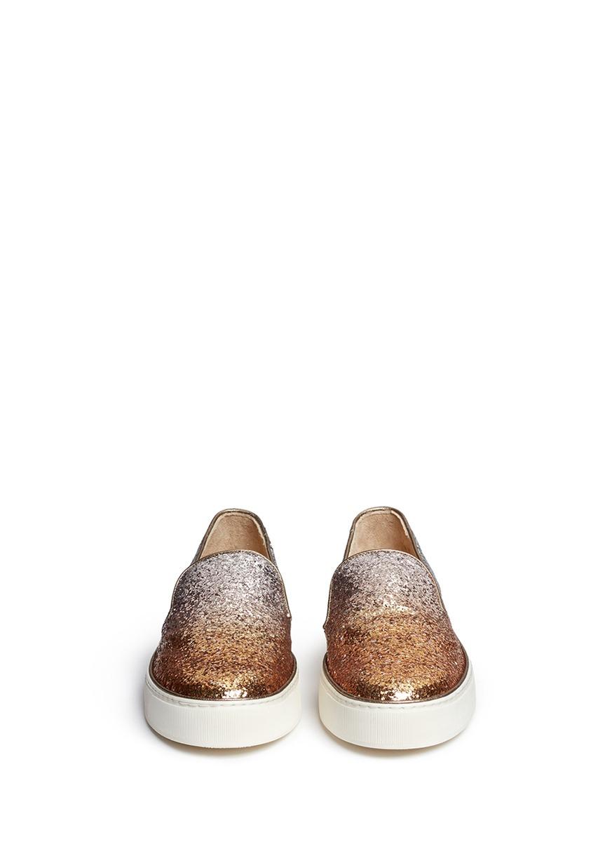 1cf81430f555 Lyst - Stuart Weitzman  the Biarritz Sneaker  Ombré Glitter Skate ...