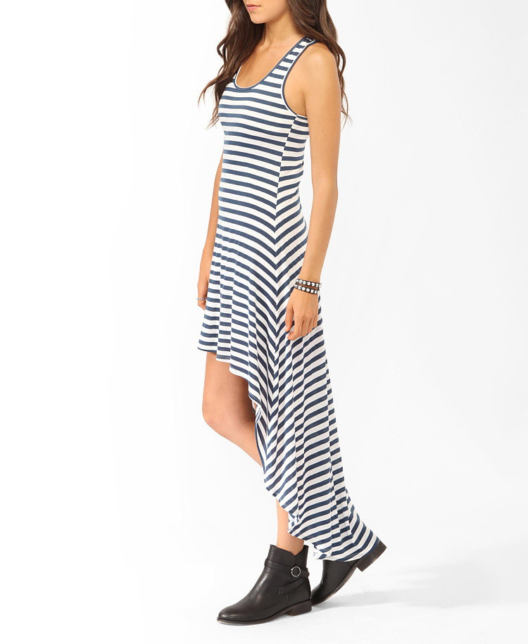 lyst forever 21 striped highlow racerback dress in blue