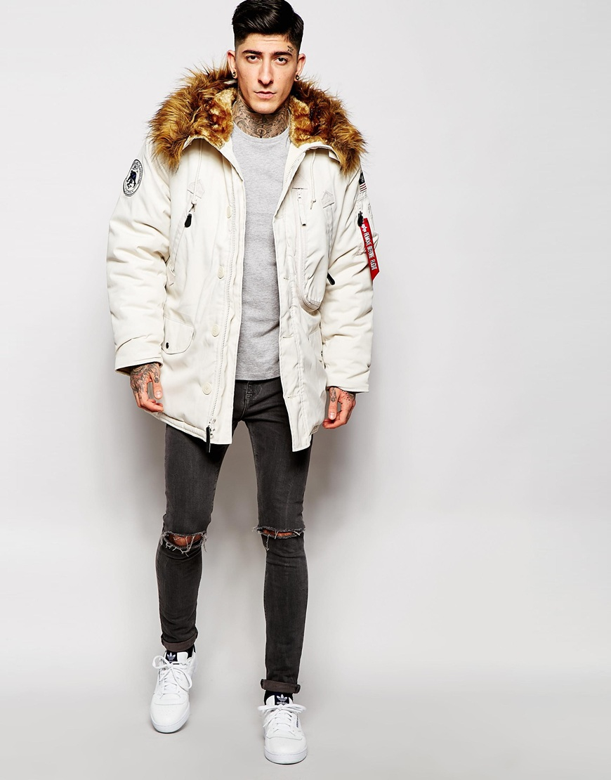 alpha industries polar parka coat with faux fur hood, Alpha