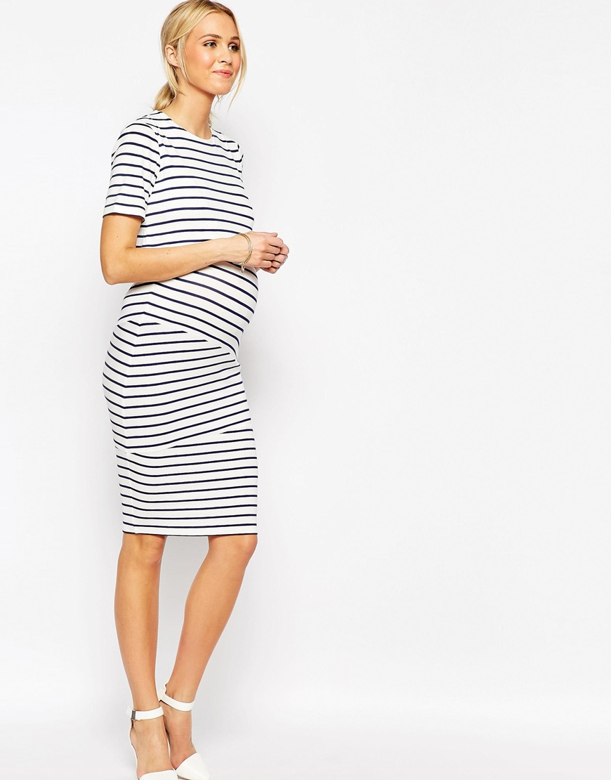 Asos maternity nursing double layer bodycon dress in stripe with gallery ombrellifo Choice Image