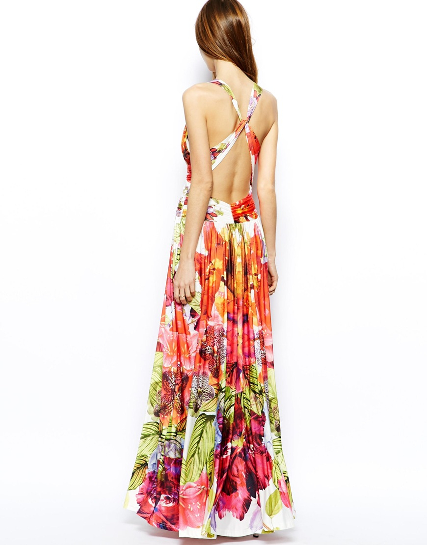 Lyst Forever Unique Plunge Neck Maxi Dress In Tropical
