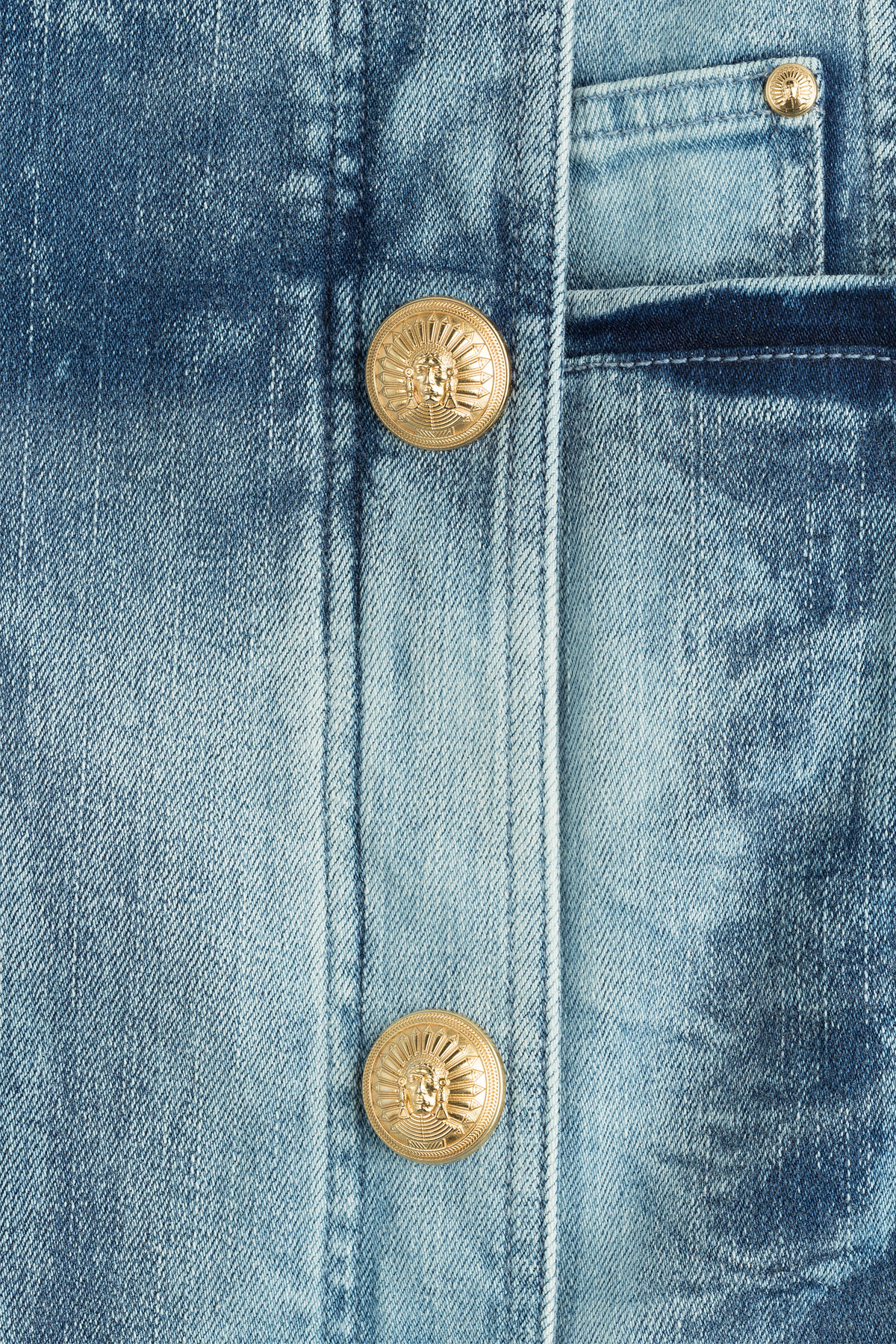Balmain Denim Skirt With Gold Tone Buttons In Blue Lyst