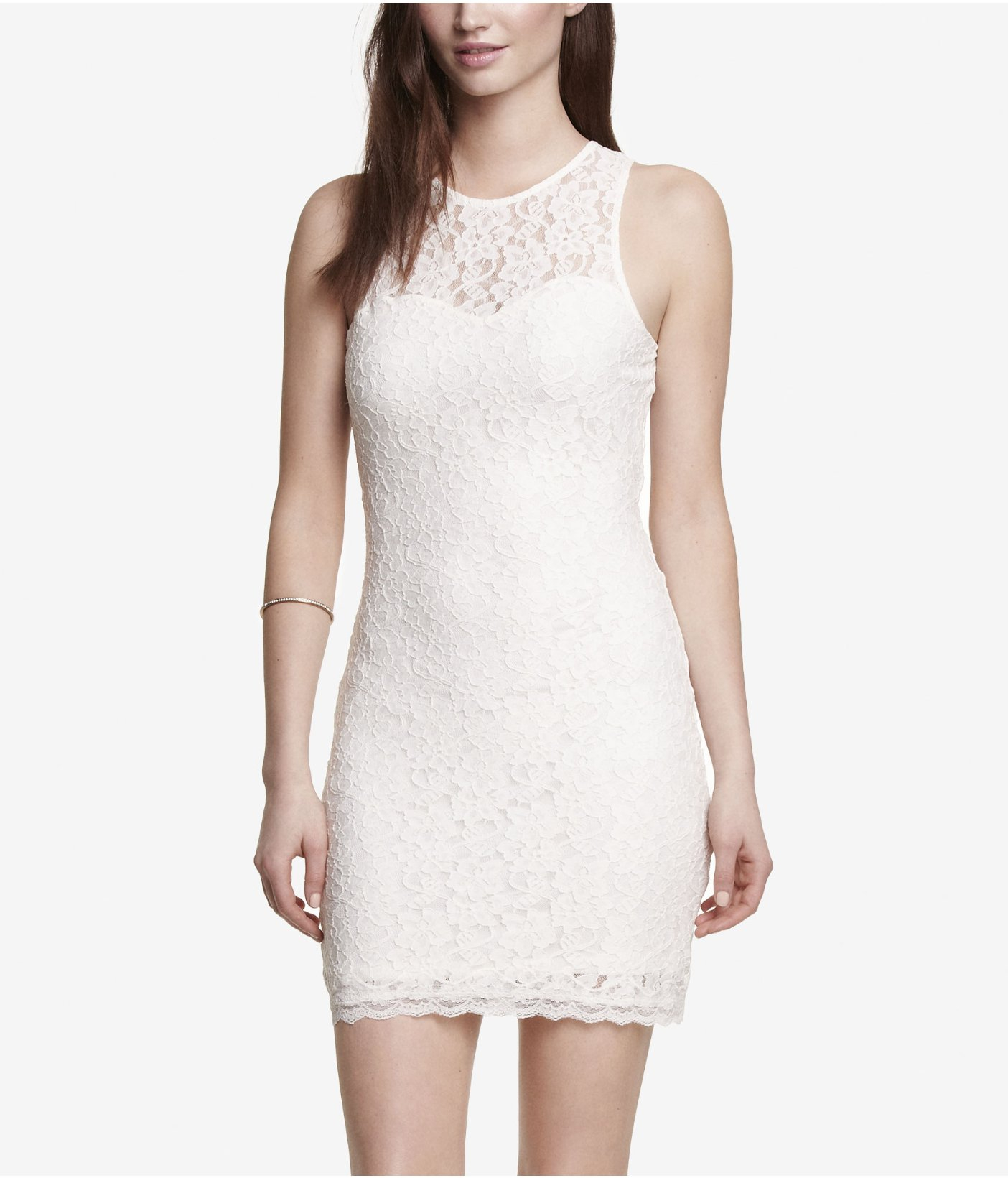 Express Sleeveless Open Back Lace Sheath Dress In White Lyst