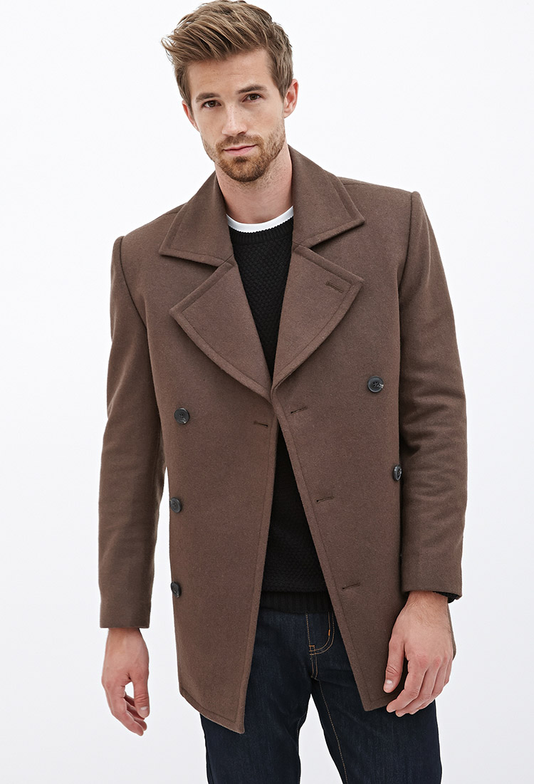 Forever 21 Wool-blend Peacoat in Brown for Men | Lyst