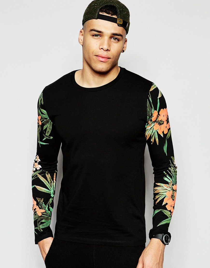 Asos long sleeve t shirts with floral print sleeves in for Long sleeve black tee shirts