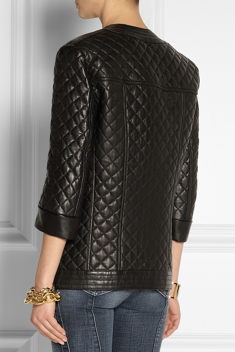 Balmain Collarless Quilted Leather Jacket In Black Lyst