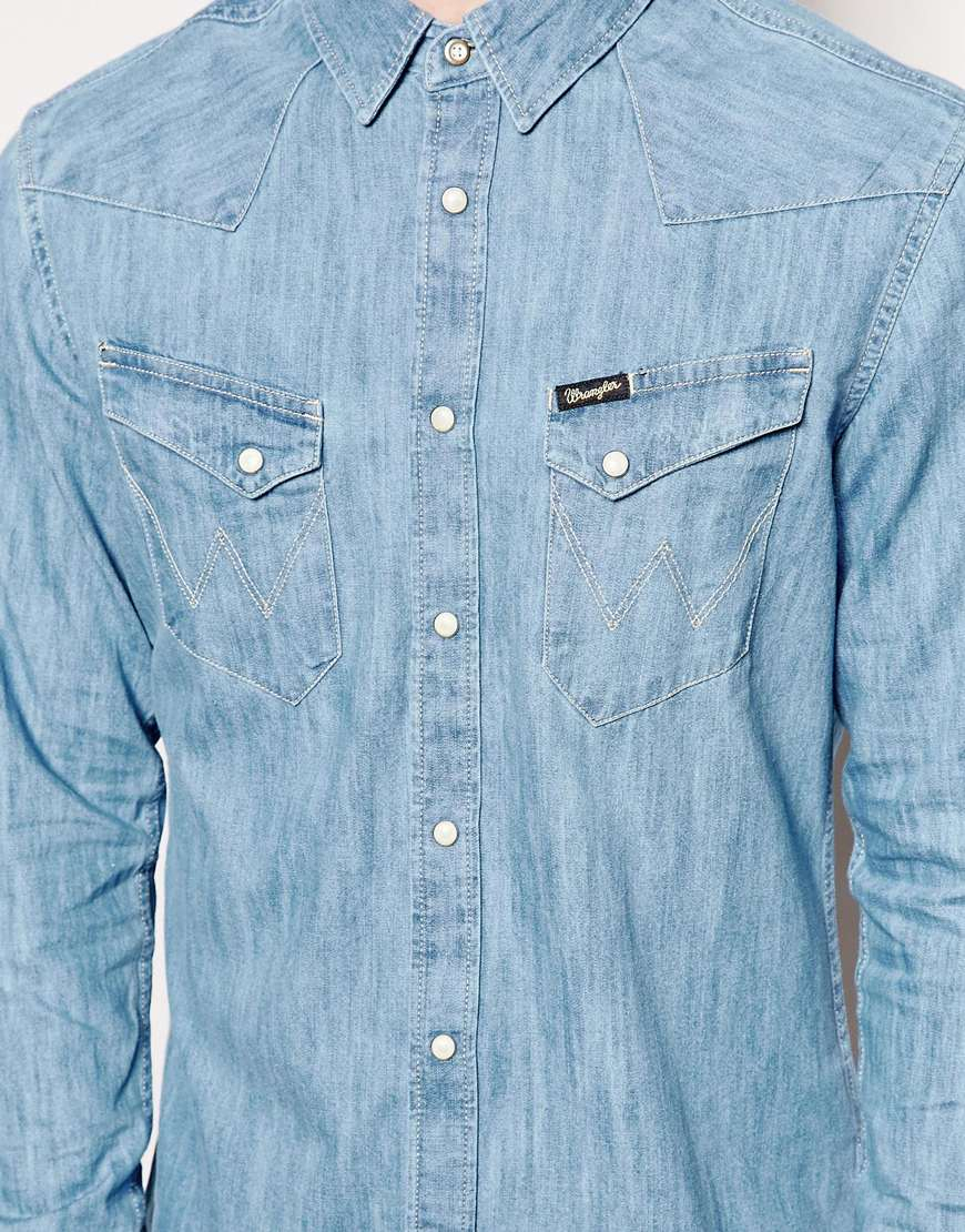Lyst Wrangler Denim Shirt Slim Fit City Western Light