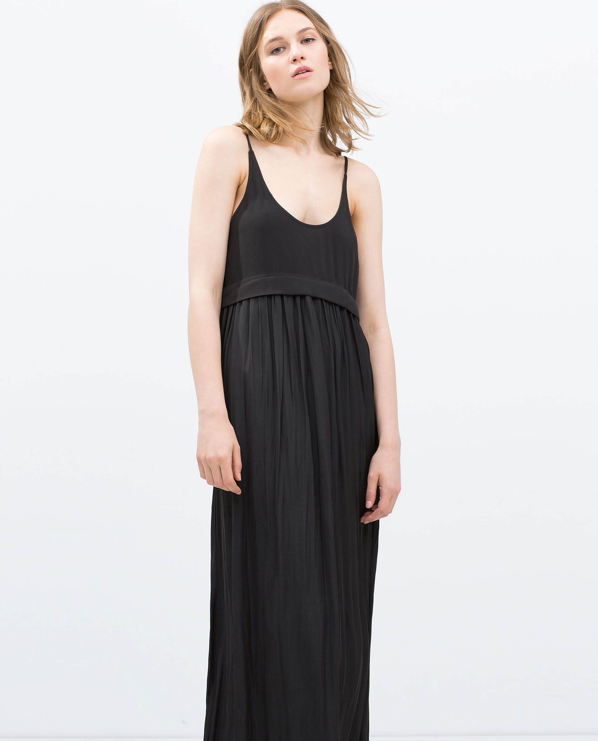 Zara Long Flowing Dress in Black | Lyst