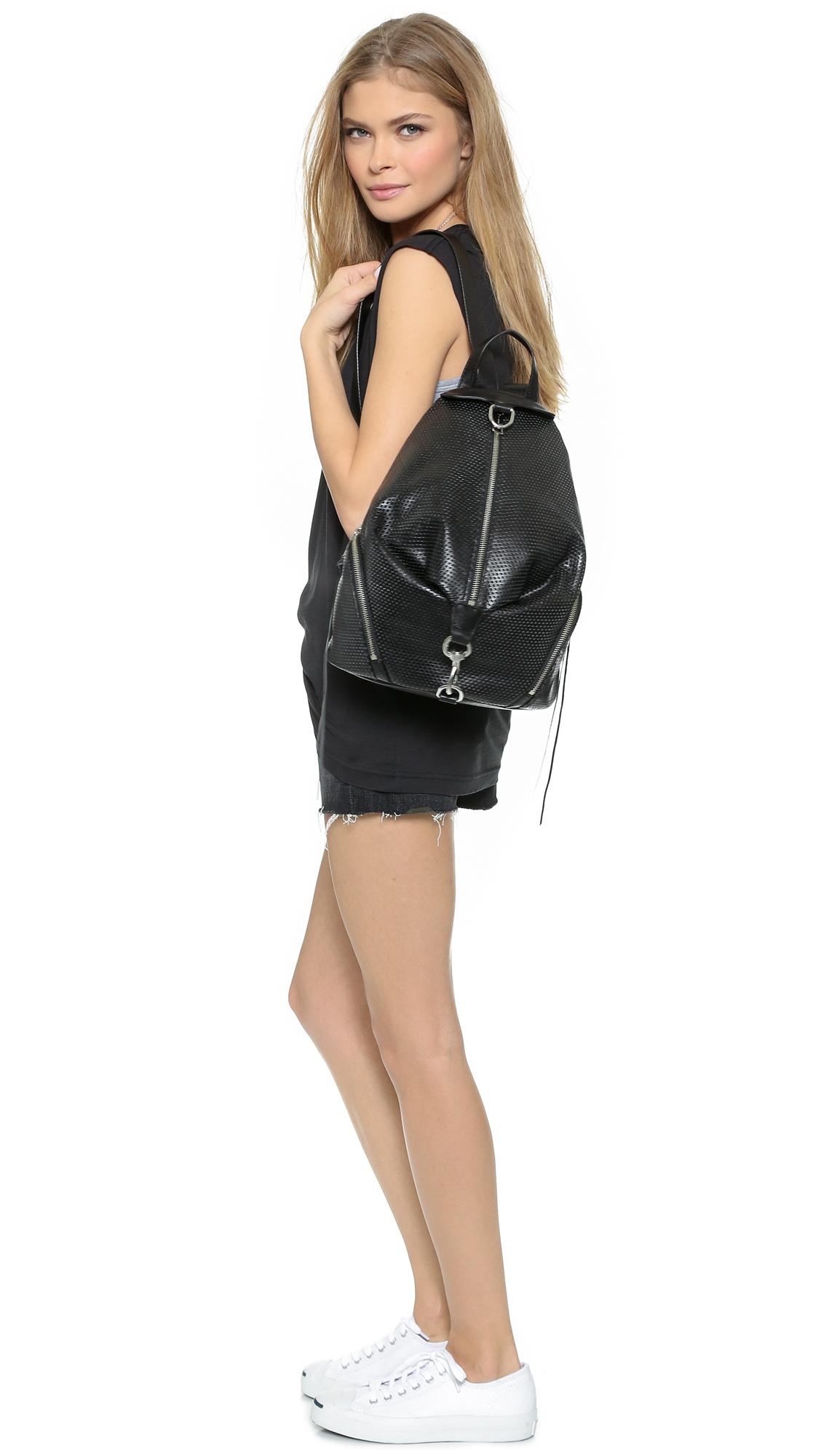 Rebecca minkoff Perforated Julian Backpack - Black in Black | Lyst