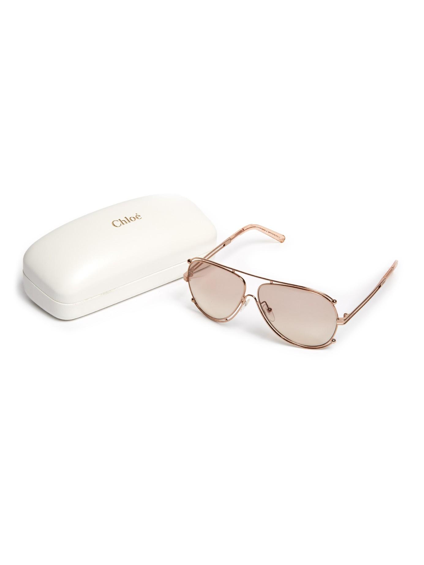 62b03c2a8de99 Chloé Isidora Aviator Sunglasses in Pink - Lyst