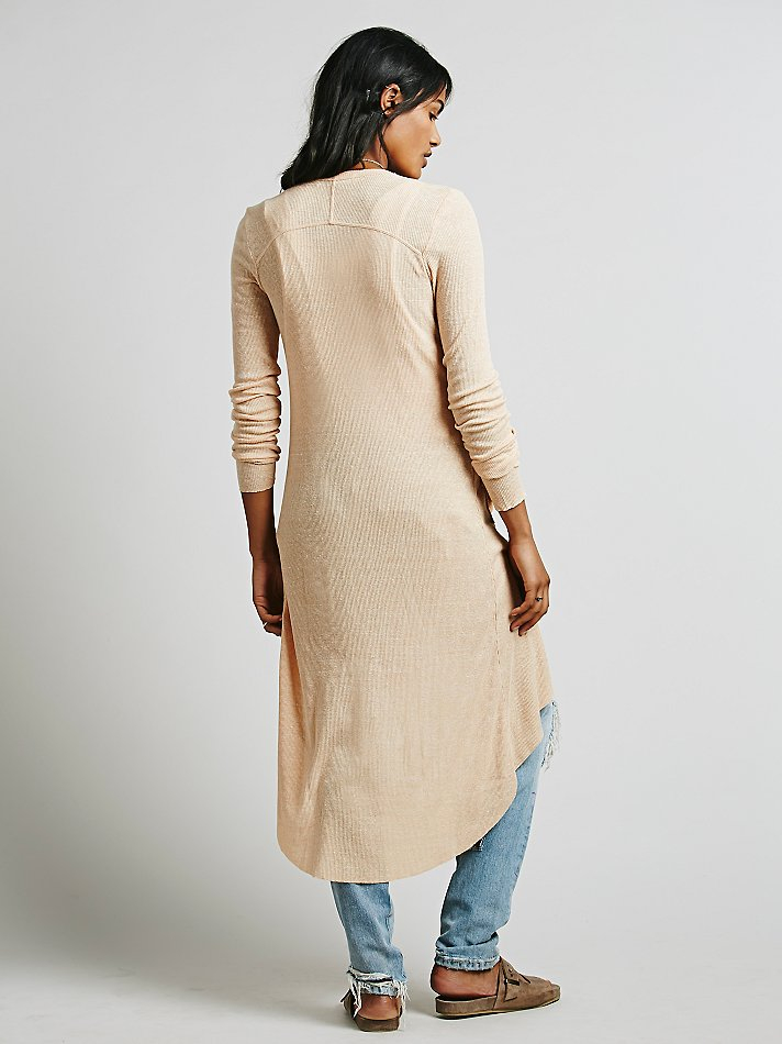 Free people Ribbed Up Maxi Cardigan in Natural | Lyst