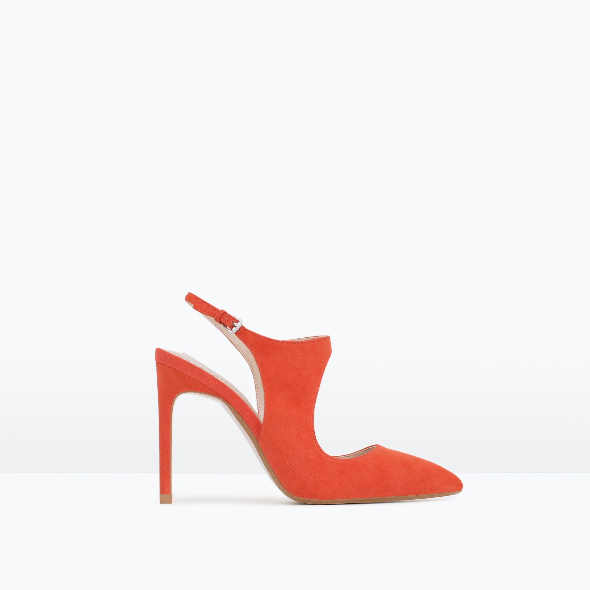 zara suede slingback high heel shoes in orange lyst