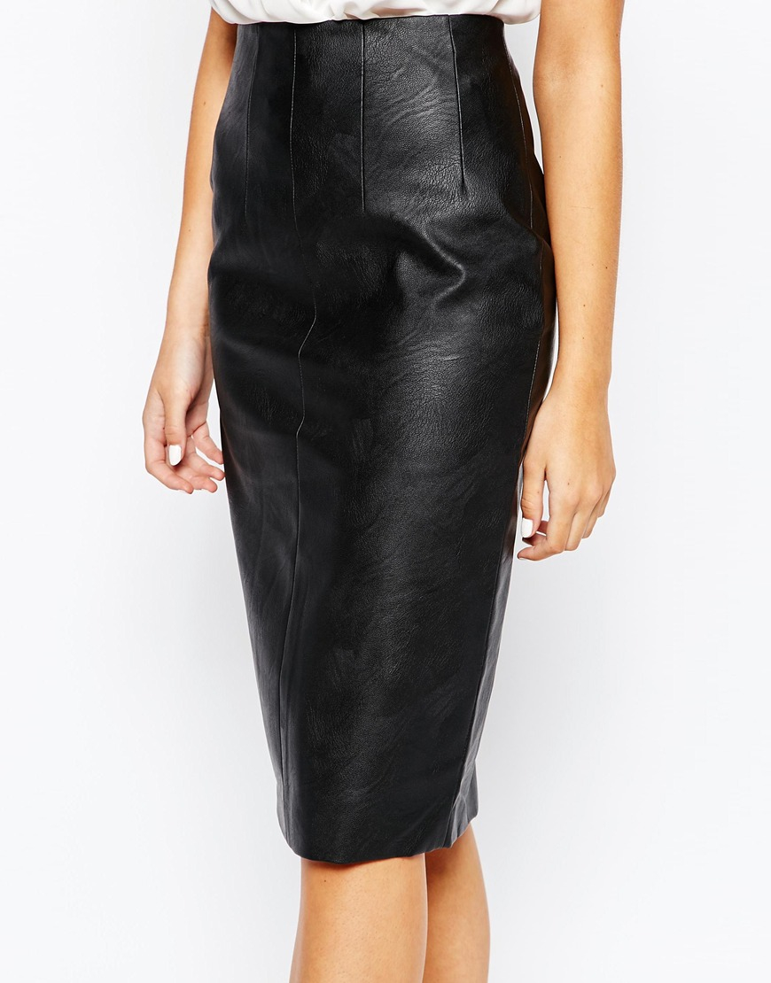 Oasis Clean High Waisted Leather Look Pencil Skirt in Black | Lyst