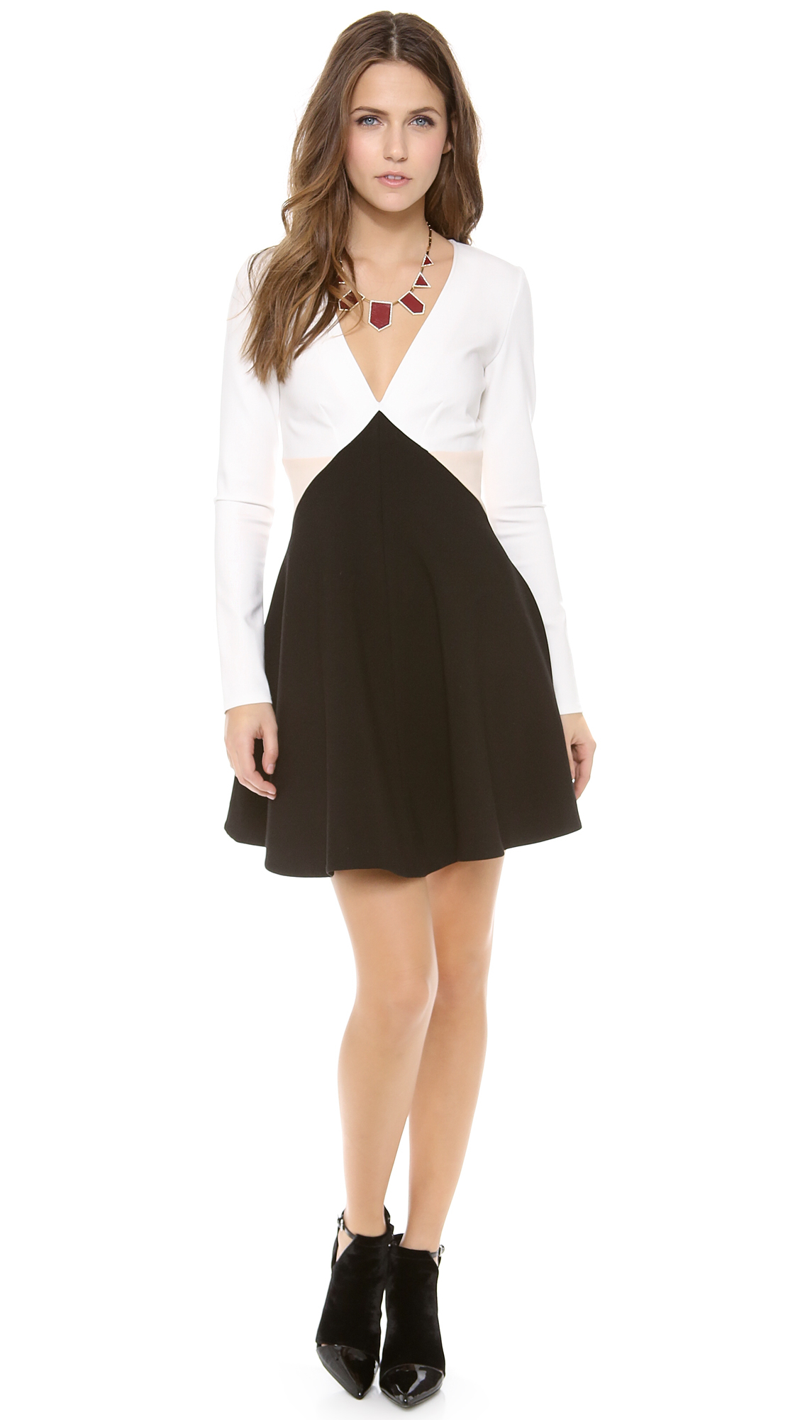 Lyst Addison Ford Long Sleeve Fit And Flare Dress In Black