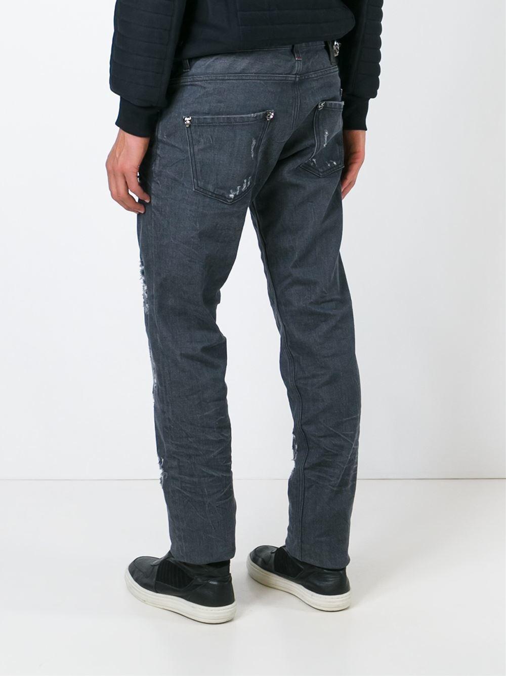 philipp plein distressed straight leg jeans in blue for men grey lyst. Black Bedroom Furniture Sets. Home Design Ideas